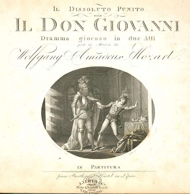 Il dissoluto punito osia Don Giovanni, Title page
