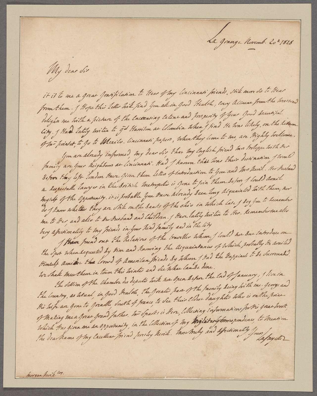 Lafayette, [Marquis de]. La Grange. To Morgan Neville