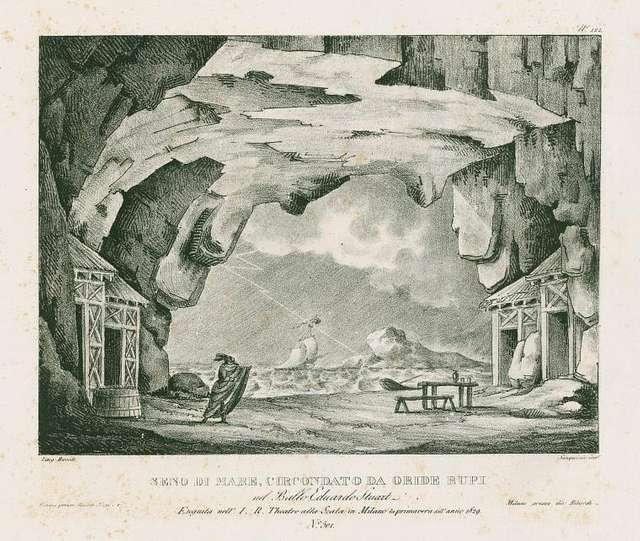 Seno di mare, cercondato da oride rupi nel ballo Eduardo Stuart eseguita nell'I. R. Teatro alla Scala in Milan la primavera dell'anno 1829. Lito. Ricordi. Sanquirico inv.