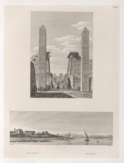 1. Entrèe de Loùqssor [Luxor]. 2. Vue de Loùqssor [Luxor].