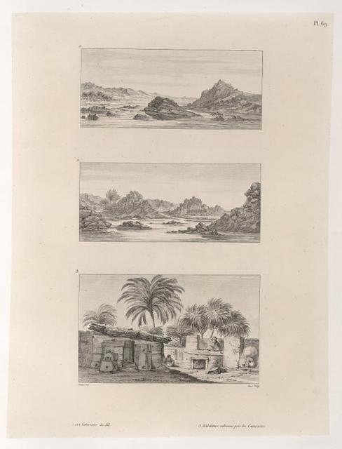 1 et 2.  Cataractes du Nil. 3. Habitation nubienne près les Cataractes.