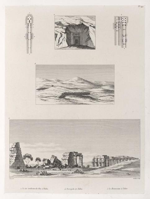 1. et 2. Un des tombeaux des rois à Thèbes; [3. Plan d'un autre tombeau à deux issues (Thèbes)]; 4. Necropolis de Thèbes; 5. Le Memnonium à Thèbes.