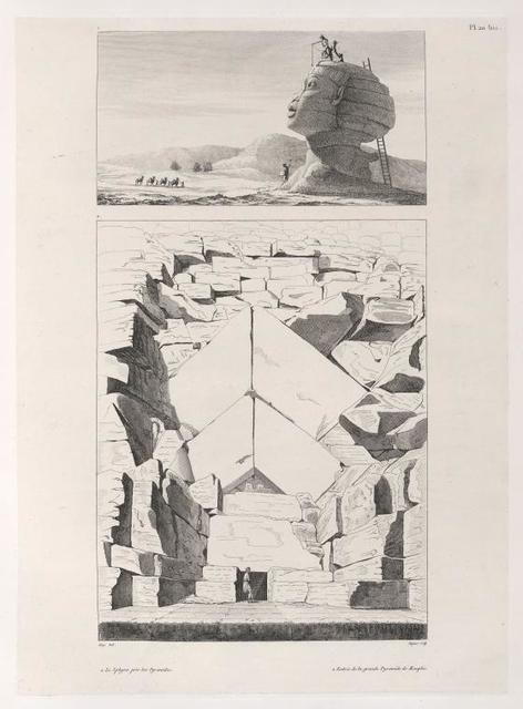 1. Le Sphinx près des Pyramides (top); 2. Entrée de la grande Pyramide de Memphis (bottom).