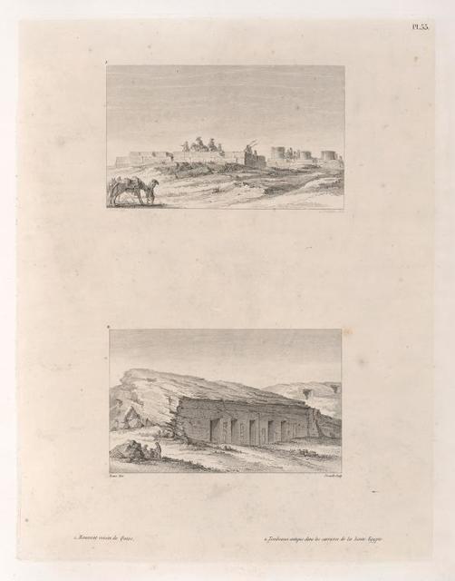 1. Monument voisin de Qouss. 2. Tombeaux antique dans les carrieres de la haute Egypte.