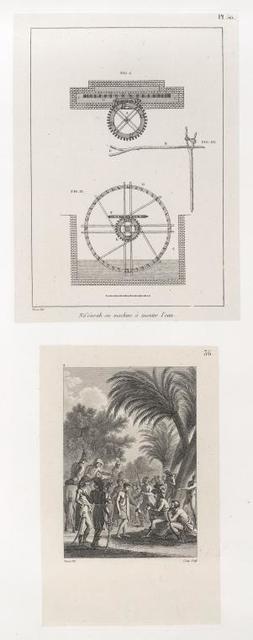 """1. Ná'oùrah [= noria] ou machine à monter l'eau [plan]; 2. [""""est le tableau d'une anecdote, don't le récit est dans le journal, t. I, p. 173""""]"""
