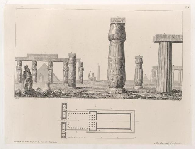 1. Reunion de divers fragmens d'architecture Egyptienne. 2. Plan d'un temple d'Apollinopolis.