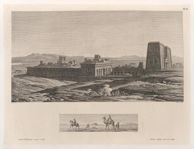 1. Temple d'Apollinopolis magna à Edfu.  2. Situation d'Edfu et de son Temple.