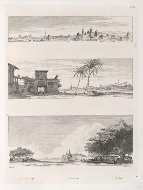 1. Tombeaux des Khalifes; 2. Le vieux Caire; 3. Le Miqyâs [nilomètre].