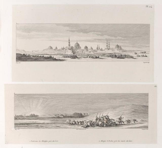 1. Tombeaux des Khalifes près du Caire; 2. Attaques d'Arabes près des murts [murs] du Caire.