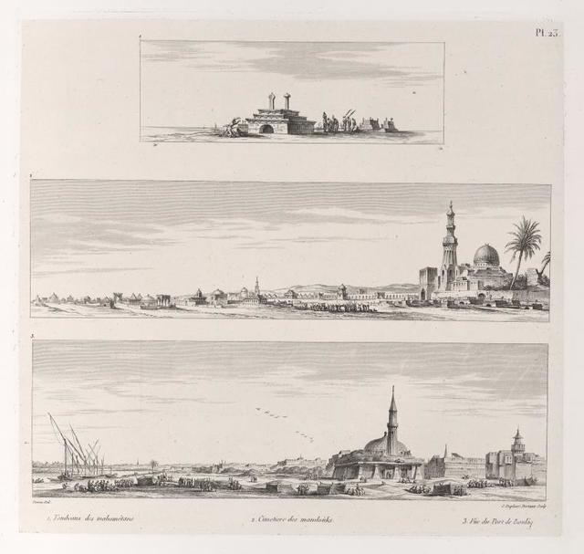 1. Tombeaux des mahométans; 2. Cimetière des mamloùks; 3. Vue du port de Boulâq.