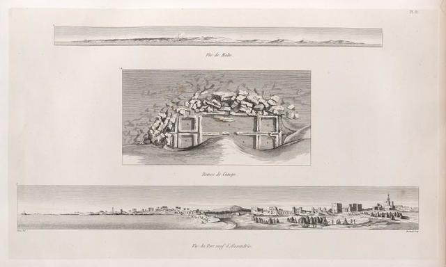1. Vue de Malte.  2. Ruines de Canope.  3. Vue du Port neuf d'Alexandrie.