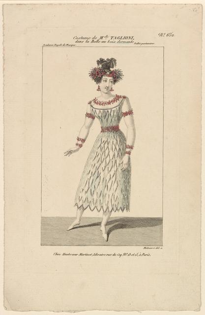 Costume de Melle. Taglioni, dans La belle au bois dormant, ballet pantomime, Académie royale de musique