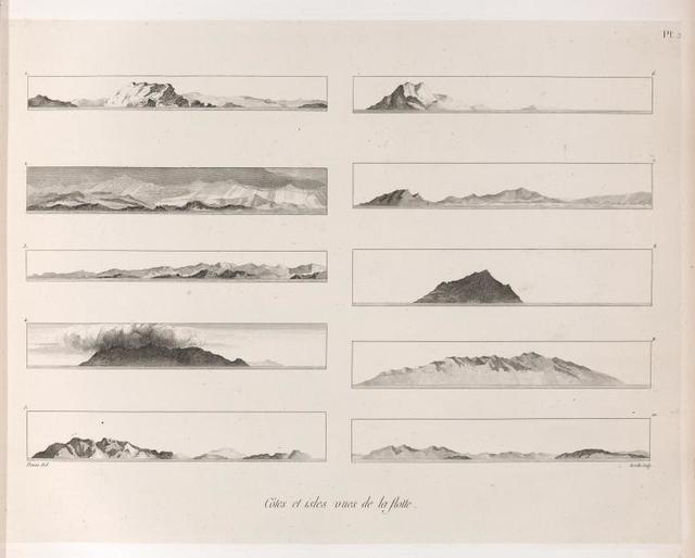 Côtes et îsles vues de la flotte. [1, 2. Sardaigne;  3. Co;  4 -7. Sicile ; 8. Maretimo;  9-10. Candie.]