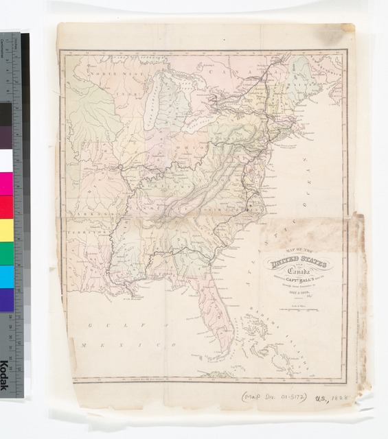 Map of the United States and Canada : shewing Captn. Hall's route through those countries in 1827 & 1828