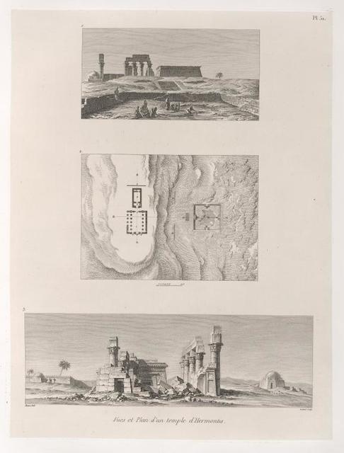 Vues et plan d'un temple d 'Hermontis [Armant].