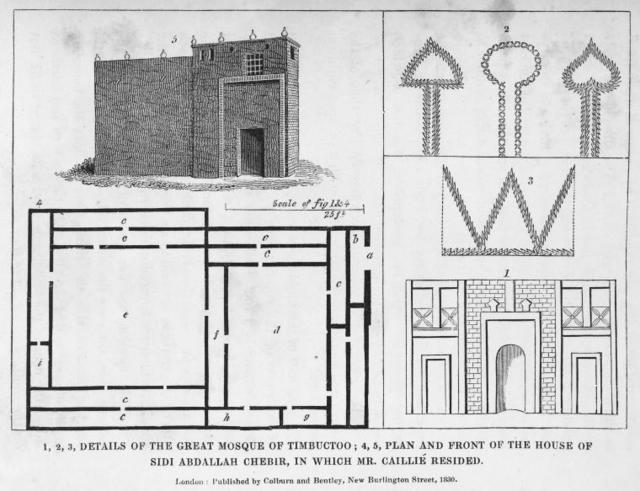 1,2,3, Details of the great Mosque of Timbuctoo; 4,5, Plan and front of the house of Sidi Abdallah Chebir, in which Mr. Caillie Resided