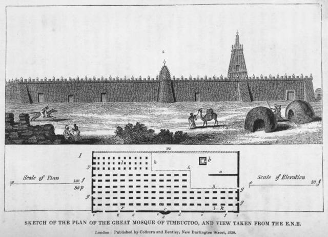 Sketch of the Plan of the Great Mosque of Timbuctoo, and View taken from the E.N.E.
