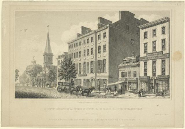 City Hotel, Trinity & Grace Churches. Broadway. New-York