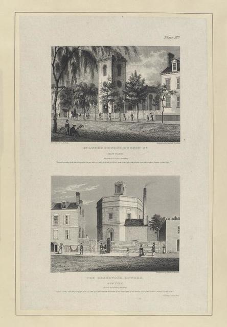 Plate 17th. St. Luke's Church, Hudson St. New York ; The Reservoir, Bowery, New York.