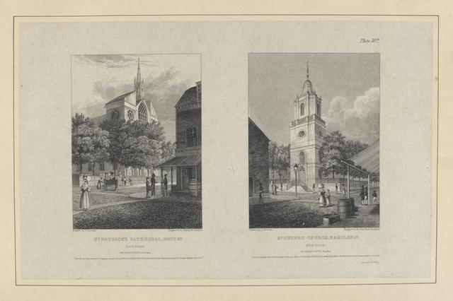 Plate 18th. St. Patrick's Cathedral, Mott St. New York ; St. Peter's Church, Barclay St. New York.