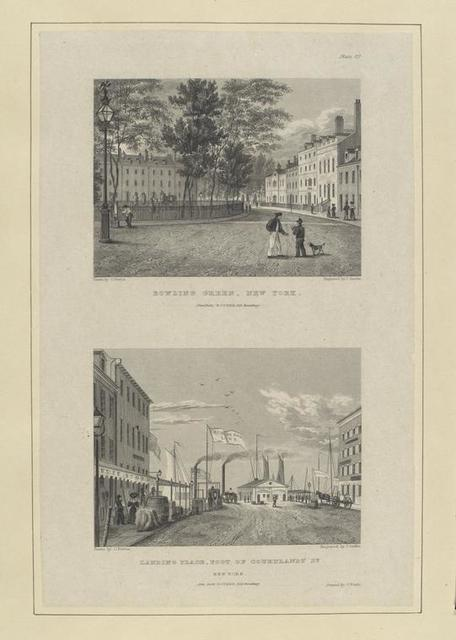 Plate 2d. Bowling Green, New York ; Landing place, foot of Courtlandt St. New York.