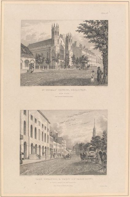 Plate 6th. St. Thomas' Church, Broadway, New York ; Park Theatre and part of Park Row, St. Paul's Church in the distance.