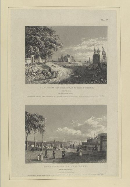 Plate 8th. Junction of Broadway and the Bowery, New York ; Bay and harbour of New York, from the Battery.