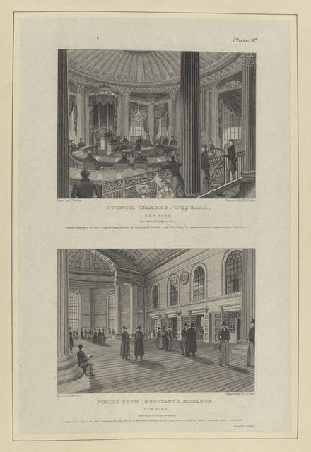 Plate 9th. Council Chamber, City Hall, New York ; Public room, Merchant's Exchange, New York.