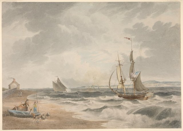 "Type-written label: ""View of the Narrows from Bedloes Island. Fine drawing in water-colours showing numerous ships"