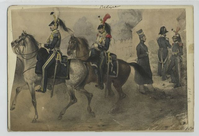 Belge [Two Military officers riding horses and three on foot.]