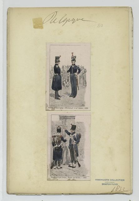 Garde civique belge Officiers gde et Pte  tenue, - 1832, Garde civique belge Tenue de Route, - 1832.