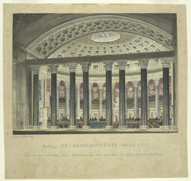 Hall of Representatives, Wash'n, D.C.  The frieze, cornice and tympanum are omitted to show dome and ceiling.