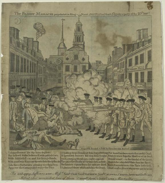 The bloody massacre perpetrated in King-Street, Boston on March 5th 1770, by a party of the 29th regt.