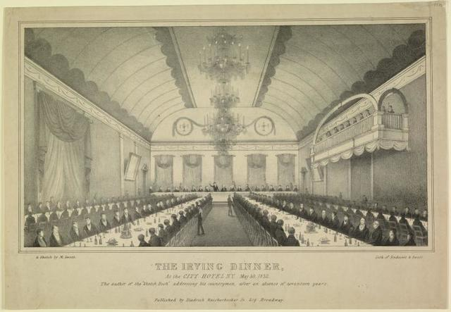 """The Irving dinner, at the City Hotel, N. Y. May 30, 1832. The author of the """"Sketch book"""" addressing his countrymen after an absence of seventeen years"""