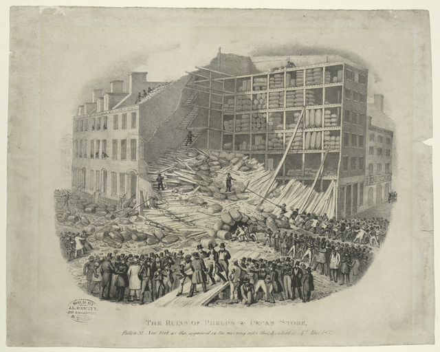 The ruins of Phelp's and Peck's store, Fulton St. New York, as they appeared on the morning after the accident of 4th. May 1832.