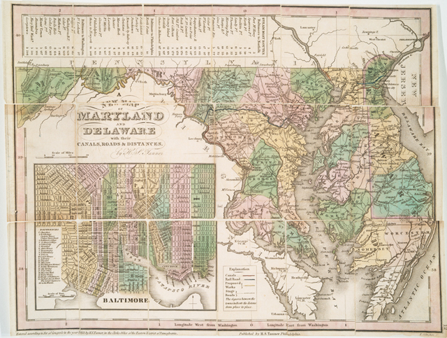 A new map of Maryland and Delaware : with their canals, roads & distances