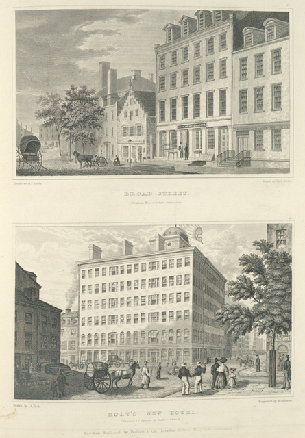 Broad Street (Custom House in the distance) ; Holt's New Hotel (Corner of Fulton and Water Street).