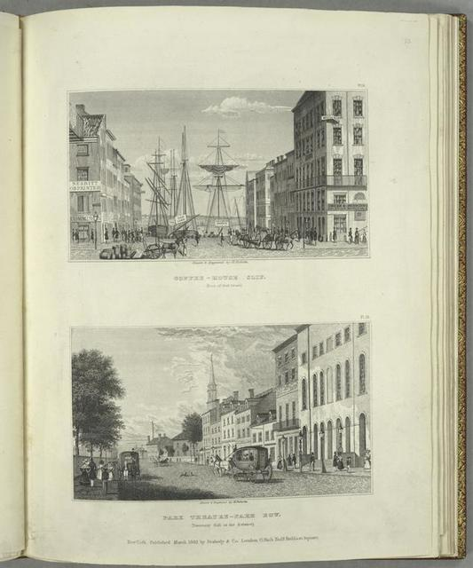 Coffee-House Slip (foot of Wall Street) ; Park Theatre-Park Row (Tammany Hall in the distance).
