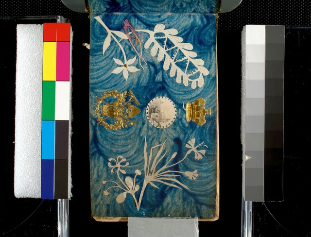 Collage with emblems, sea landscape and floral paper cutouts.