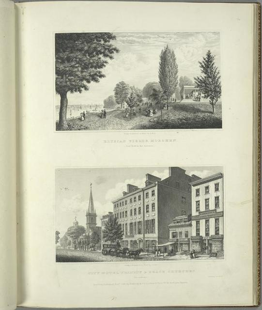 Elysian fields, Hoboken (New York in the distance) ; City Hotel, Trinity and Grace Churches (Broadway).