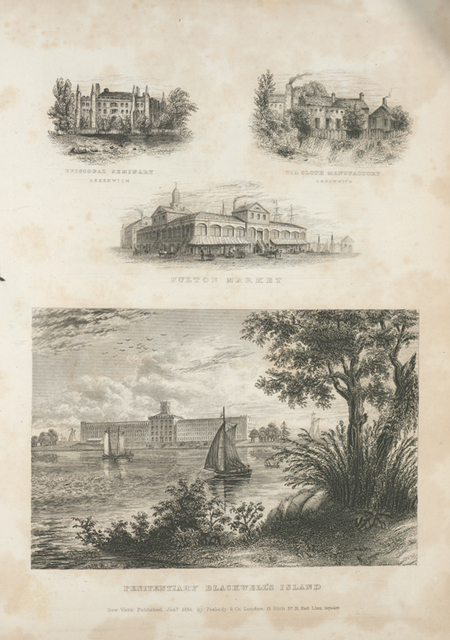 Episcopal Seminary Greenwich ; Oil Cloth Manufactory, Greenwich ; Fulton Market ; Penitentiary Blackwell's Island.