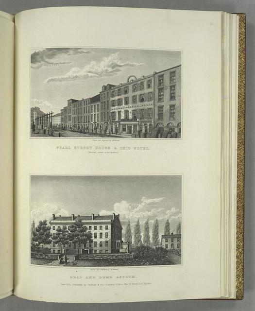 Pearl Street House and Ohio Hotel (Hanover Square in the distance) ; Deaf and Dumb Asylum.