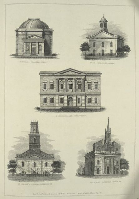 Rotunda, Chambers Street, Grace Church, Broadway, U.S. Branch Bank, Wall Street, St. George's Church, Beekman St., St. Patricks Cathedral, Mott St.