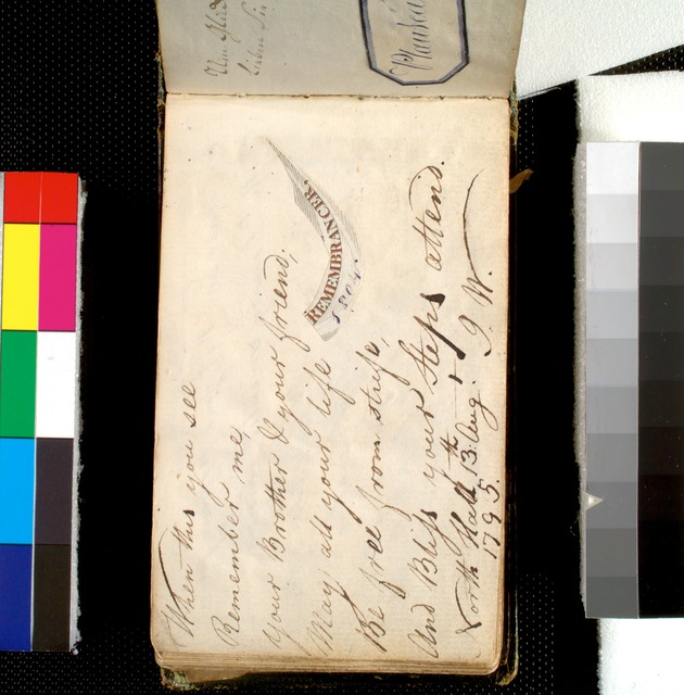 When this you see, remember me, ...' (G. W. [Wagner], North Hall, 13th Aug. 1795)