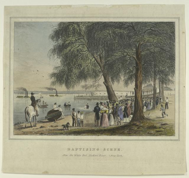 Baptising scene.  Near the White Fort, Hudson River.  New-York.