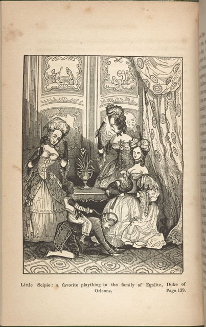 Illustration of a French parlor in which a small black child is riding on the back of the Duke of Orleans while three women look on.