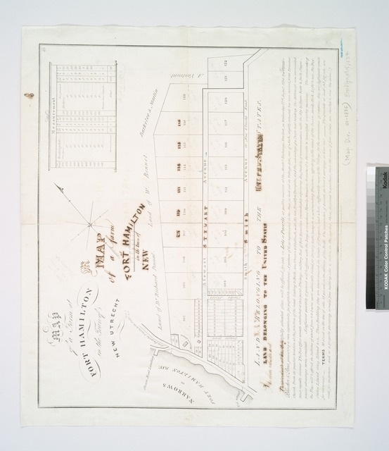 Map of a farm at Fort Hamilton in the town of New Utrecht.