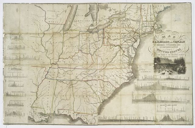 Map of the railroads and canals, finished, unfinished, and in  contemplation, in the United States