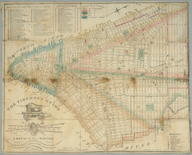 The Firemen's guide : a map of the City of New-York, showing the fire districts, fire limits, hydrants, public cisterns, stations of engines, hooks & ladders, hose carts, &c.
