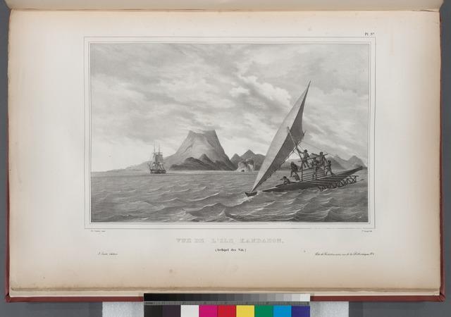 Vue de l' Ile Kandabon. (Arehipel des Viti.).